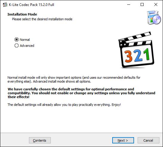 Abra el instalador del códec K-Lite, seleccione su modo de instalación, luego haga clic en Siguiente