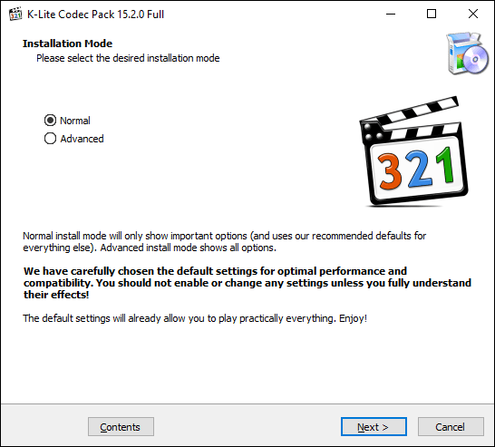 Open the K-Lite codec installer, select your installation mode, then click Next