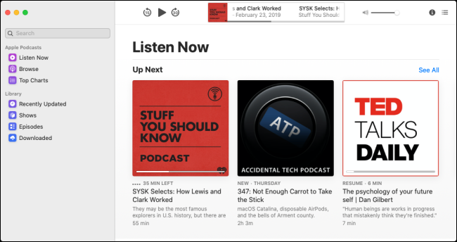 """The """"Up Next"""" menu in the Podcasts app."""