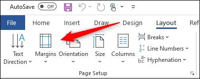 Margins option in page setup