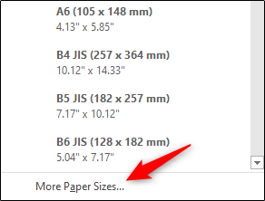 """Click """"More Paper Sizes."""""""