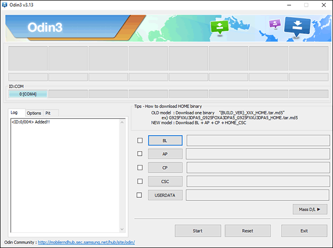 The Odin interface for flashing Samsung Android firmware