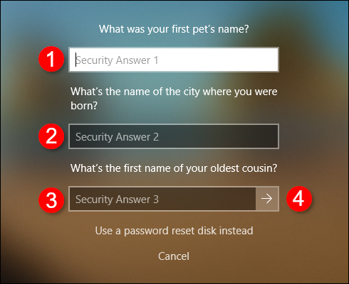 Offline Account Security Questions