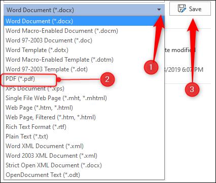 "Click the arrow to open the drop-down menu, click ""PDF,"" and then click ""Save."""