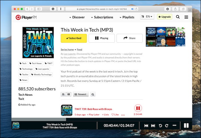 Player FM Web player running in Safari on Mac