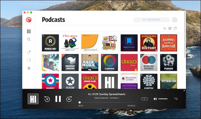 "The Pocket Casts ""Podcasts"" menu on a Mac."