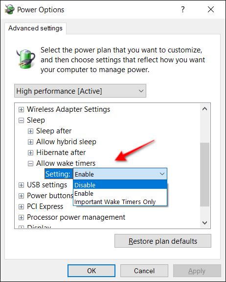 Power Options Wake Timer Desktop