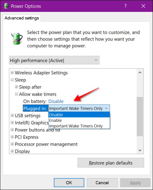 Power Options Wake Timer Laptop