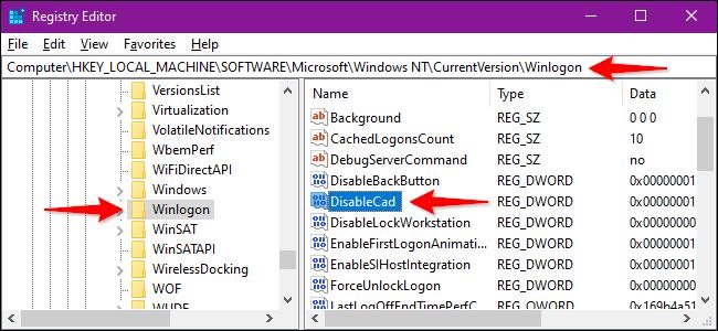Registry Editor Alter Winlogon Setting