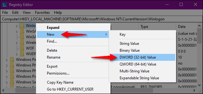 Registry Editor Create DWORD