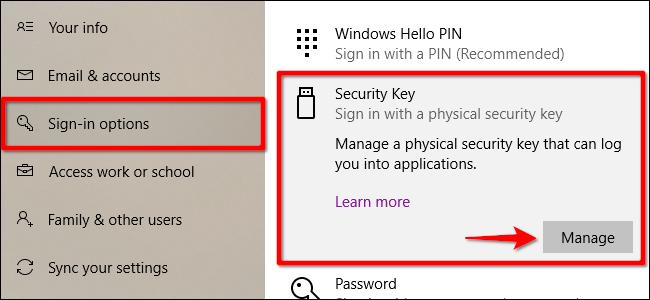 Windows 10 Remove Security Key