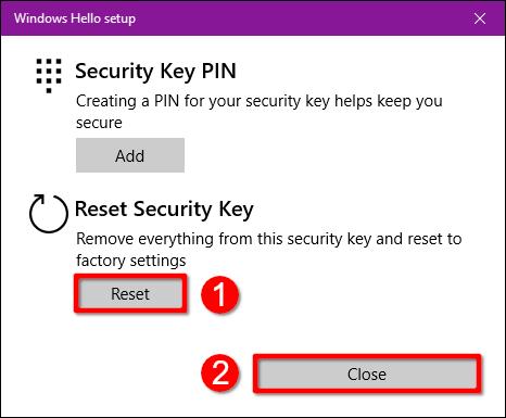 Windows 10 Reset Security Key
