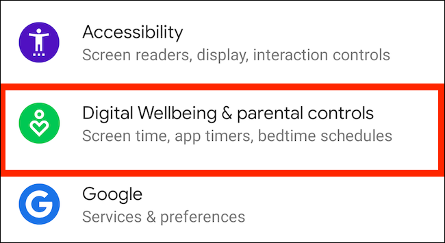 """Tap """"Digital Wellbeing and Parental Controls"""" in Settings."""