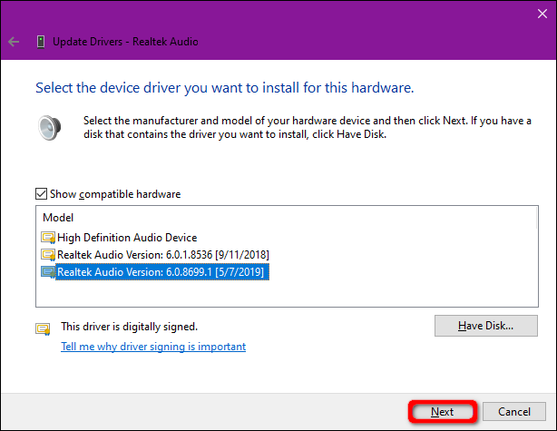 Windows 10 Select Driver from List