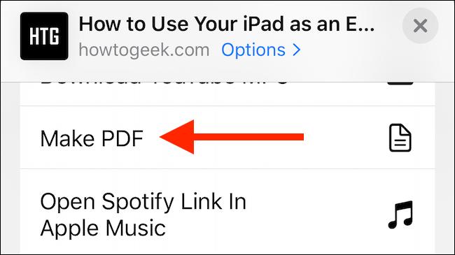 """Toca """"Crear PDF"""" en la hoja para compartir."""