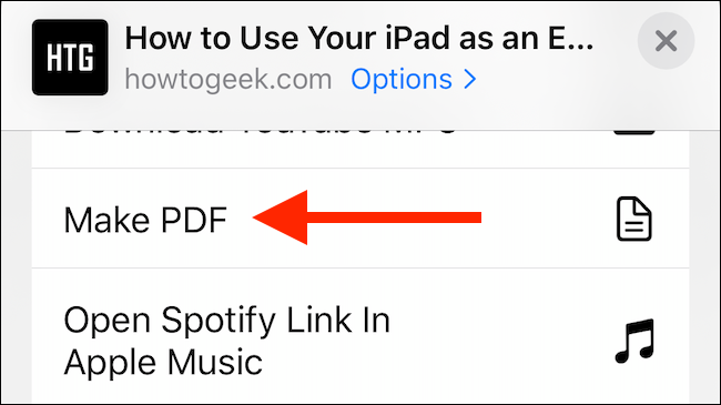 """Tap """"Make PDF"""" in the Share Sheet."""