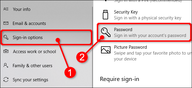 Select Passwords in Windows 10 Settings