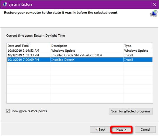 Windows 10 Select Restore Point