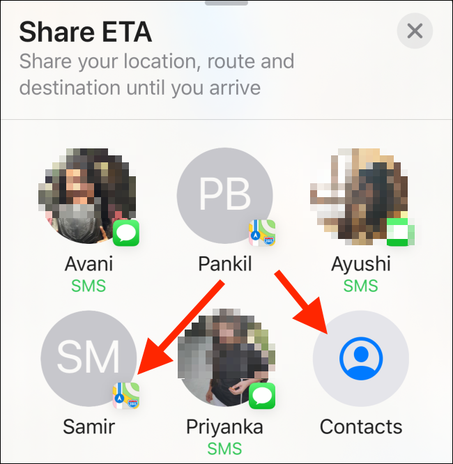 Select a contact on tap on Contacts to search