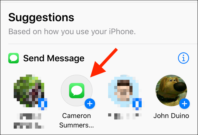 """Tap an action in the """"Suggestions"""" list."""