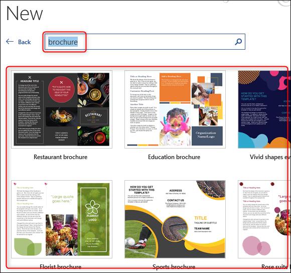 Select brochure template in Word
