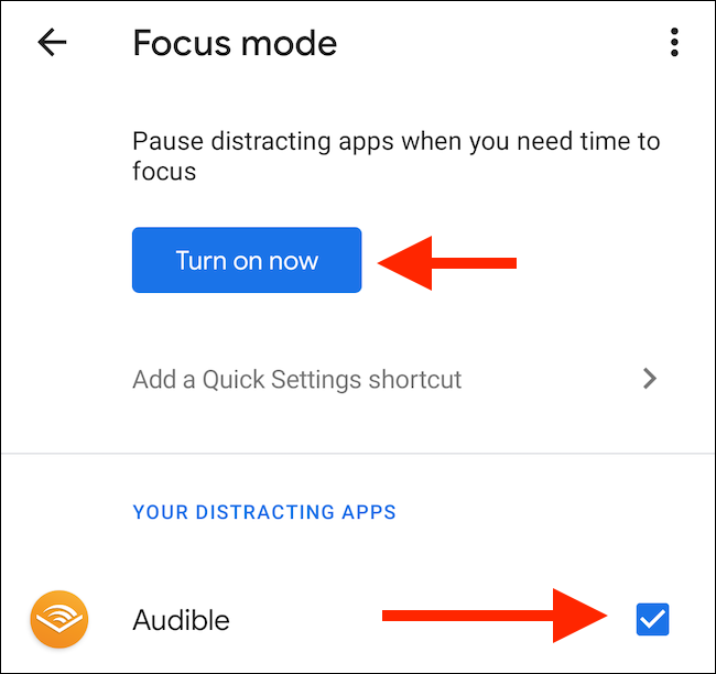 "Tap ""Turn On Now"" in the ""Focus Mode"" menu."