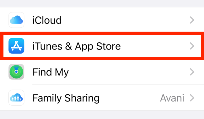 Select iTunes and App Store from your account page