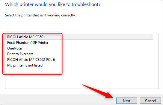 """Select your printer from the list, and then click """"Next."""""""