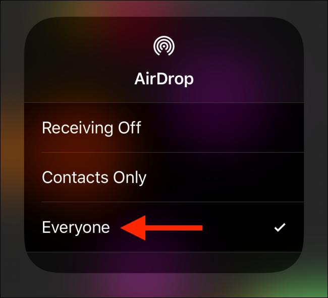 "Tap ""Everyone"" in the AirDrop menu."