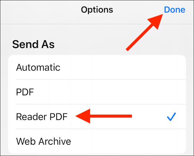 """Seleccione la opción de PDF que desee y luego toque """"Listo""""."""