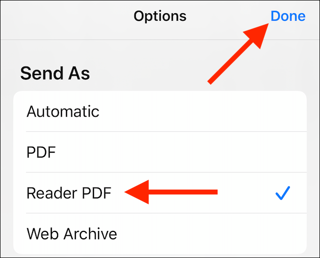 """Select the PDF option you want, and then tap """"Done."""""""