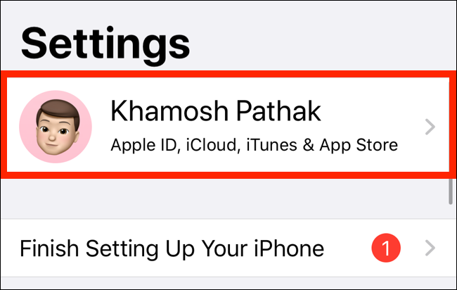 Select your name from the top of Settings app