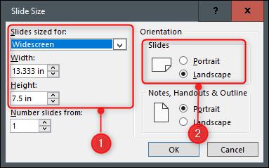 Set slide size and orientation