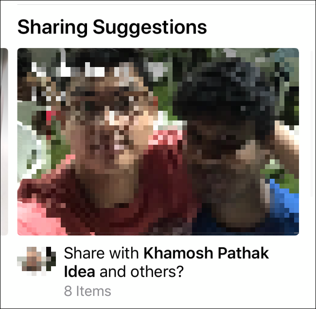 """An image in the """"Sharing Suggestions"""" section."""
