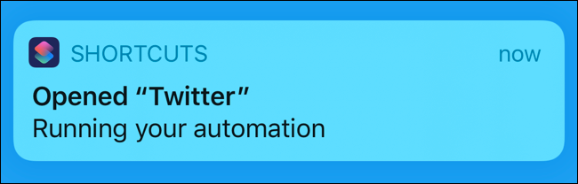 """The """"Running Your Automation"""" shortcut notification."""