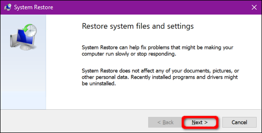 System Restore Next Button