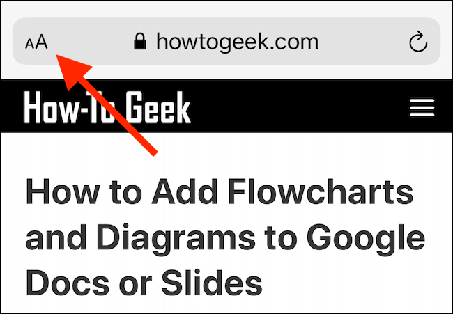 "Tap and hold ""AA"" in Safari."