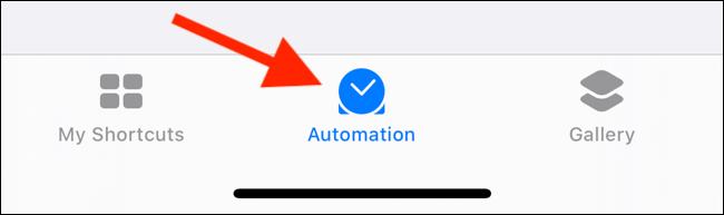 Нажмите на вкладку «Автоматизация» в приложении «Ярлыки».