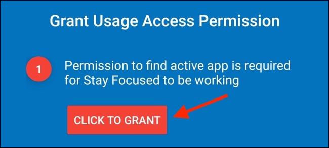 "Tap ""Click to Grant."""