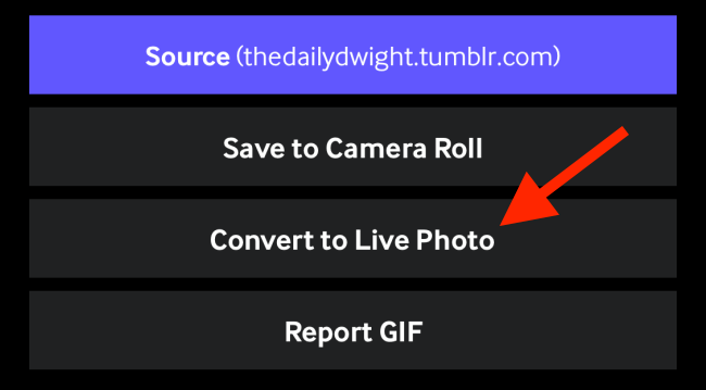 Tap on Convert to Live Photo