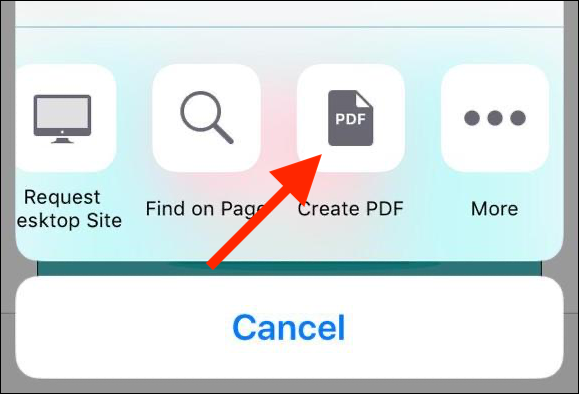 """Tap """"Create PDF"""" in the Share Sheet actions bar."""