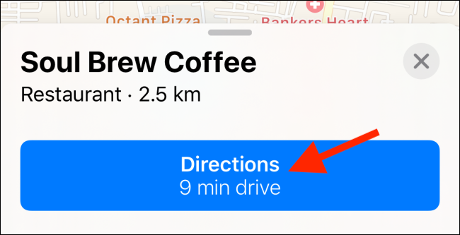 Tap on Directions from the location page