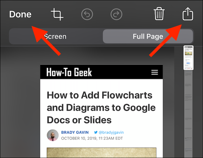 "Tap the Share button to export the PDF to an app, or ""Done"" to save it to the Files app."