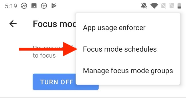 "Tap ""Focus Mode Schedules."""