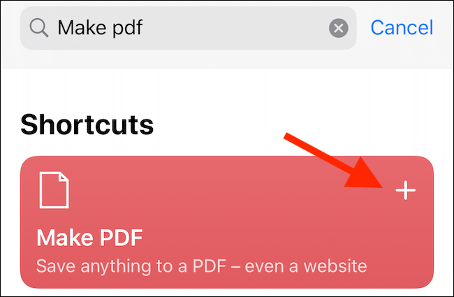 "Tap the plus sign next to the ""Make PDF"" option."