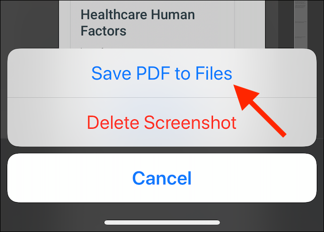 "Tap ""Save PDF to Files."""