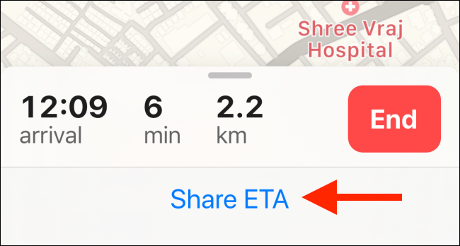 Tap on Share ETA text