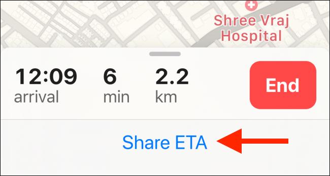 Tap on Share ETA text
