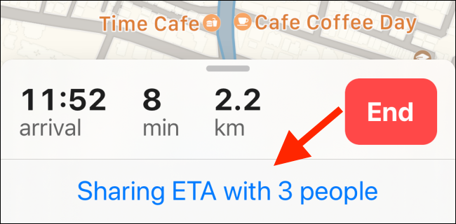 Tap on Sharing ETA with People button