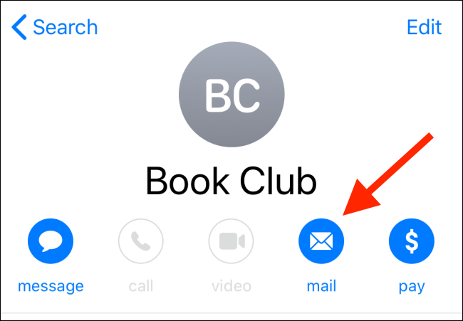 Tap on the mail button from the Contacts app